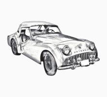 1957 Triumph TR3 Convertible Sports Car Illustration Kids Clothes