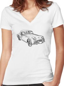 1957 Triumph TR3 Convertible Sports Car Illustration Women's Fitted V-Neck T-Shirt
