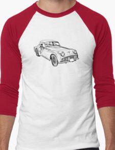 1957 Triumph TR3 Convertible Sports Car Illustration Men's Baseball ¾ T-Shirt
