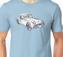 1957 Triumph TR3 Convertible Sports Car Illustration Unisex T-Shirt
