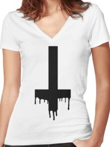 dripping cross Women's Fitted V-Neck T-Shirt