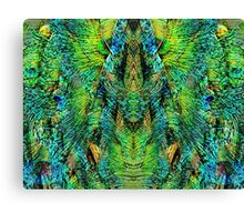 Mirrored Peacock Feather Design Canvas Print