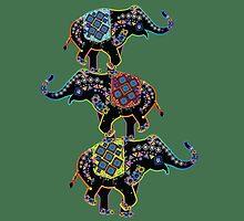 Ethnic patterned elephants by Olga Chetverikova