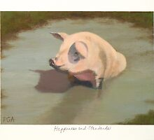 Happy Pig Wallowing in Mud by PhyllisGAndrews