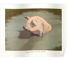 Happy Pig Wallowing in Mud Poster