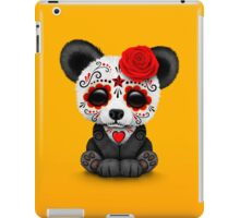 Red Day of the Dead Sugar Skull Panda on Yellow iPad Case/Skin