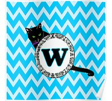 W Cat Chevron Monogram Poster