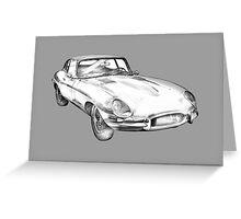 1964 Jaguar XKE Antique Sports Car Illustration Greeting Card