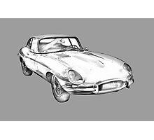 1964 Jaguar XKE Antique Sports Car Illustration Photographic Print