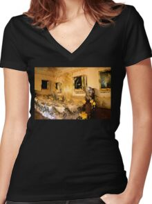 Formal Dining Women's Fitted V-Neck T-Shirt
