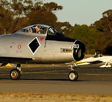 CAC 27 Sabre taxing with light plane by poleposition