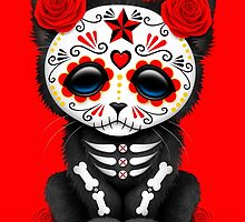 Cute Red Day of the Dead Kitten Cat by Jeff Bartels