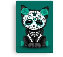 Cute Teal Blue Day of the Dead Kitten Cat Canvas Print