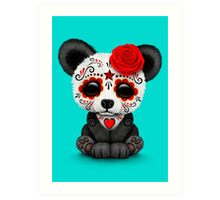 Red Day of the Dead Sugar Skull Panda on Blue Art Print