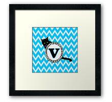 V Cat Chevron Monogram Framed Print