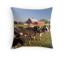 Dairy Cattle, Red Barn and Mount Rainier Throw Pillow
