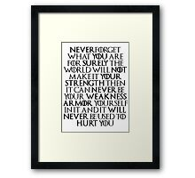 Never Forget Who You Are - Tyrion Lannister Quote Framed Print