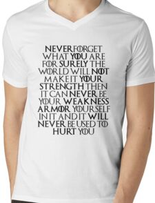 Never Forget Who You Are - Tyrion Lannister Quote Mens V-Neck T-Shirt