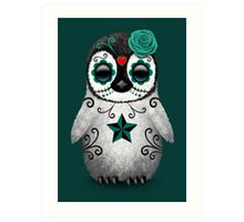 Teal Blue Day of the Dead Sugar Skull Penguin  Art Print