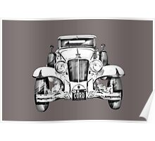 1929 Cord 6-29 Cabriolet Antique Car Illustration Poster
