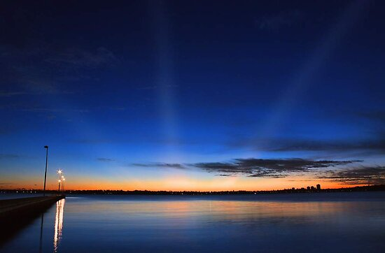 Crepuscular Rays - Como Jetty Western Australia  by EOS20