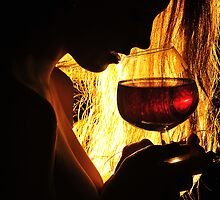 Black Profile with a Glass of Wine by Carnisch