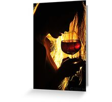 Black Profile with a Glass of Wine Greeting Card