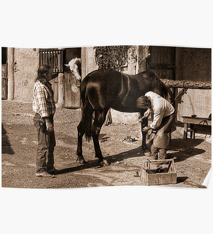 Cowboys shoeing a horse. Poster