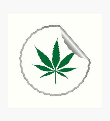 Cannabis leaf label Art Print