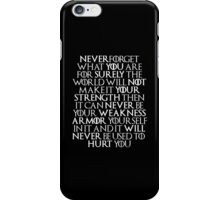 Never Forget Who You Are - Tyrion Lannister Quote iPhone Case/Skin