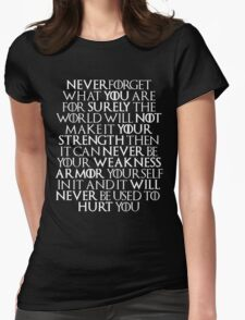Never Forget Who You Are - Tyrion Lannister Quote Womens Fitted T-Shirt