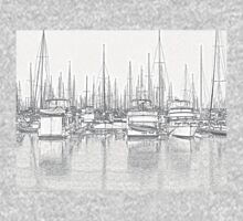 Manly Harbour, Pencil Sketch / HDR One Piece - Short Sleeve