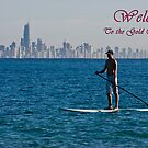 Paddle board welcome to the Gold Coast Card by flexigav