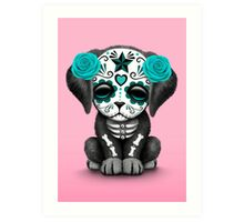 Cute Teal Blue Day of the Dead Puppy Dog Pink Art Print