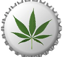 Cannabis leaf on bottle cap by Laschon Robert Paul