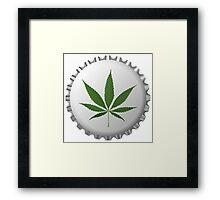 Cannabis leaf on bottle cap Framed Print