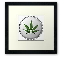 Cannabis leaf on bottle cap Framed Print