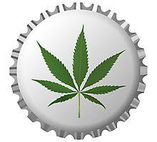 Cannabis leaf on bottle cap Photographic Print