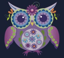 Flower power owls and flowers pattern One Piece - Short Sleeve