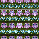 Flower power owls and flowers pattern by walstraasart