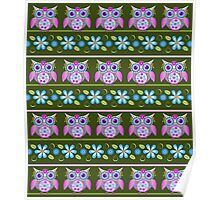 Flower power owls and flowers pattern Poster