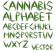 Cannabis leaf alphabet Photographic Print