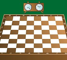 Chess board and clock by Laschon Robert Paul