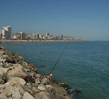 Fishing on the Breakwater Gandia, Spain  by Allen Lucas