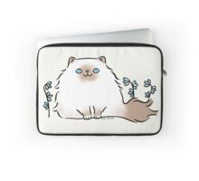 Himalayan Kitty Cat with Blue Flowers Laptop Sleeve