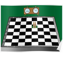 Chess, ladder and clock Poster