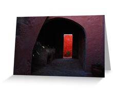 Pink Archway  leading to a Vibrant Red Wall Greeting Card