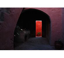 Pink Archway  leading to a Vibrant Red Wall Photographic Print