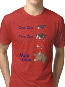 One Cow, Two Cow, Red Cow, Moo Cow Tri-blend T-Shirt