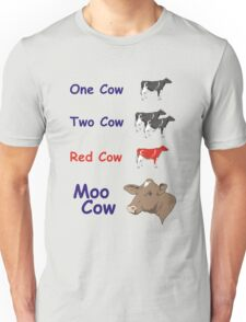 One Cow, Two Cow, Red Cow, Moo Cow Unisex T-Shirt